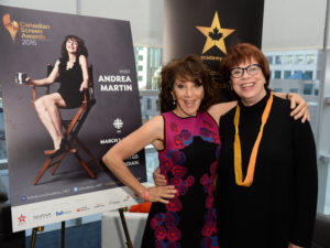 Helga Stephenson, CEO, Academy of Canadian Cinema & Television (right) Andrea Martin host of Academy's 2015 Canadian Screen Awards (left)