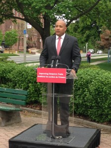 Michael Coteau Ontario's Minister of Tourism, Culture and Sport announcing legislation to improve he Trails Network in Ontario