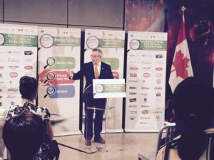 The Honourable Tony Clement, President of the Treasury Board,  announcing the second phase of the Nutrition Facts Education Campaign (NFEC)