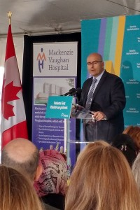 Hon. Steven Del Duca - Minister of Transportation & MPP (Vaughan) Introducing the Minister of Health to announce the New Mackenzie Vaughan Hospital Project
