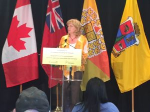 Linda Jeffrey - Mayor of the City of Brampton at the podium for the announcement of more Affordable Housing in Peel
